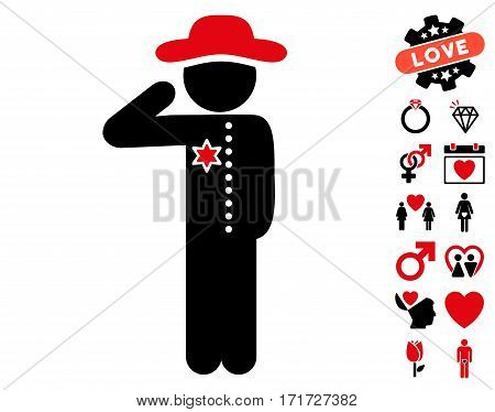 Gentleman Officer icon with bonus love symbols. Vector illustration style is flat iconic intensive red and black symbols on white background.