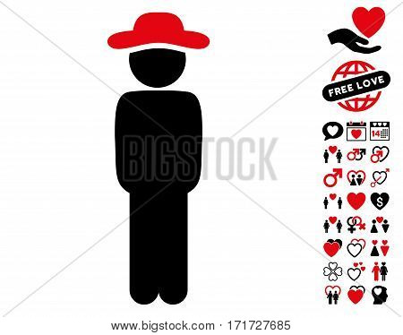 Gentleman Standing pictograph with bonus passion graphic icons. Vector illustration style is flat iconic intensive red and black symbols on white background.