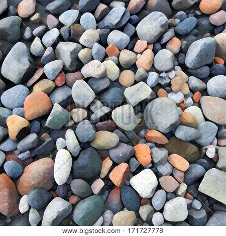 Stone background Digital illustration. Rocky backdrop or tile. Stone pile from beach. Small pebble stones mosaic wall or path. Grey pebble natural texture. Square decor element in painting style