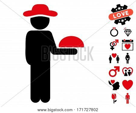 Gentleman Waiter icon with bonus valentine clip art. Vector illustration style is flat iconic intensive red and black symbols on white background.
