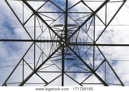 Facing upwards underneath an electrical tower. Cloudy blue sky above.