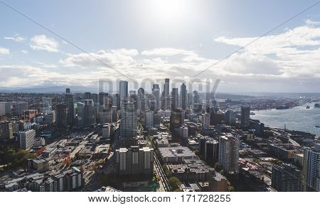 View from the Space Needle in downtown Seattle Washington USA. Sunny summer or fall day.