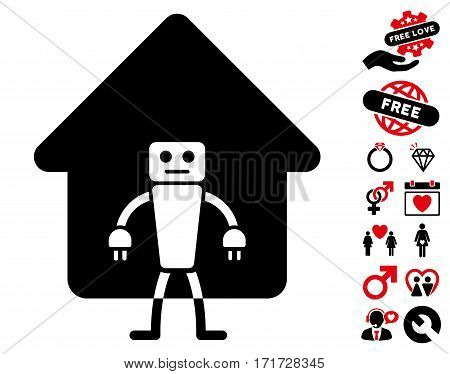 Home Robot icon with bonus passion images. Vector illustration style is flat iconic intensive red and black symbols on white background.