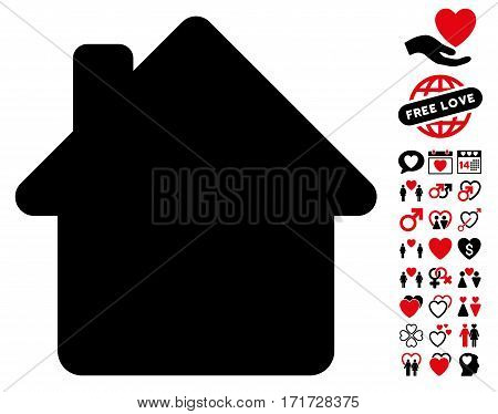 House pictograph with bonus love icon set. Vector illustration style is flat iconic intensive red and black symbols on white background.