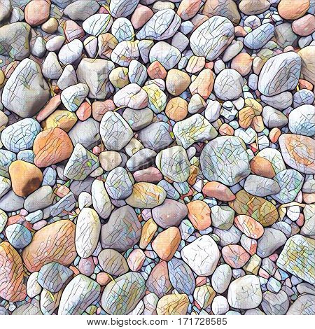 Stone background Digital illustration. Rocky backdrop or tile. Stone pile from beach. Small pebble stones mosaic wall or path. Pastel palette natural texture. Square decor element in vintage style