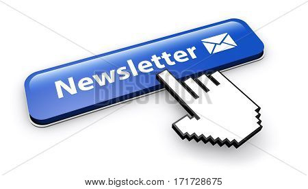Newsletter web button with sign and email icon 3d illustration on white background.