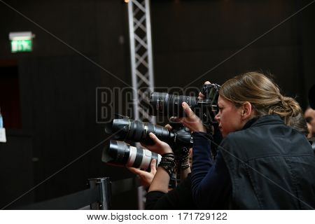 Photographer attends the 'The Party' press conference during the 67th Berlinale International Film Festival Berlin at Grand Hyatt Hotel on February 13, 2017 in Berlin, Germany