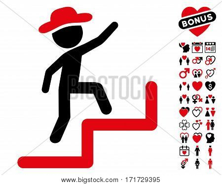 Gentleman Steps Upstairs icon with bonus romantic images. Vector illustration style is flat iconic intensive red and black symbols on white background.