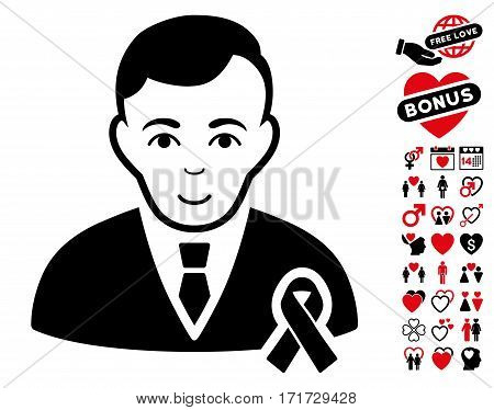Gentleman With Mourning Ribbon icon with bonus passion pictograph collection. Vector illustration style is flat iconic intensive red and black symbols on white background.