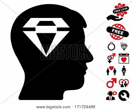 Human Head With Diamond icon with bonus romantic design elements. Vector illustration style is flat iconic intensive red and black symbols on white background.