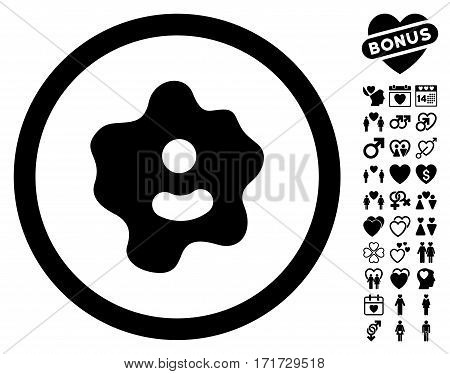 Ameba pictograph with bonus romantic pictograph collection. Vector illustration style is flat iconic black symbols on white background.