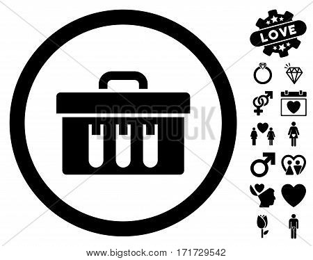 Analysis Box pictograph with bonus lovely clip art. Vector illustration style is flat iconic black symbols on white background.