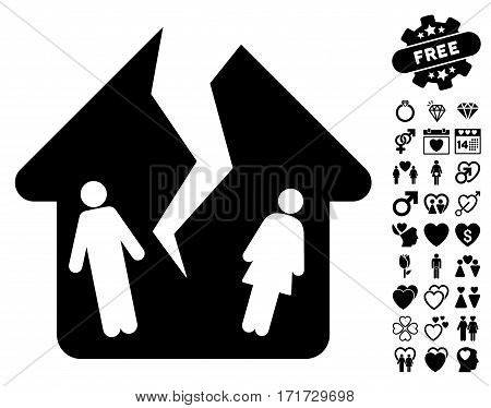 Divorce House icon with bonus marriage symbols. Vector illustration style is flat iconic black symbols on white background.