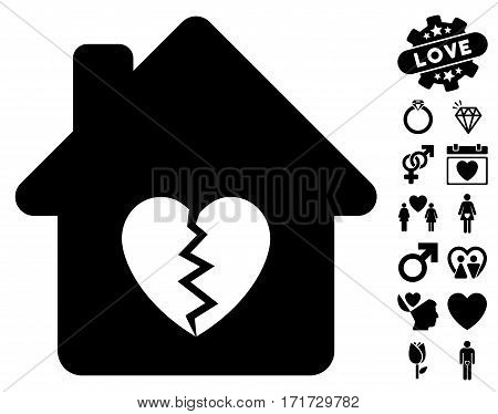Divorce House Heart pictograph with bonus lovely images. Vector illustration style is flat iconic black symbols on white background.
