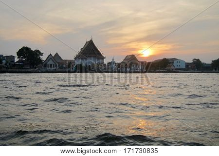 Sunset on the Chao Phraya River, Thailand