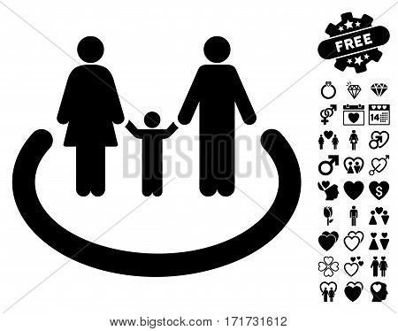 Family Area pictograph with bonus amour images. Vector illustration style is flat iconic black symbols on white background.