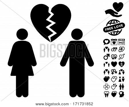 Family Divorce pictograph with bonus lovely icon set. Vector illustration style is flat iconic black symbols on white background.