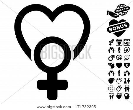Female Love pictograph with bonus decoration images. Vector illustration style is flat iconic black symbols on white background.