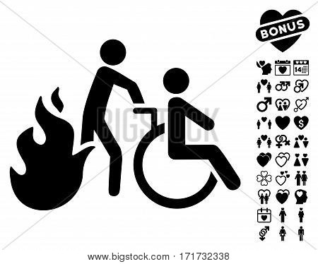 Fire Patient Evacuation icon with bonus dating symbols. Vector illustration style is flat iconic black symbols on white background.
