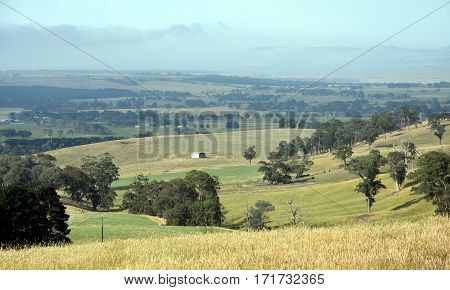 Broad panorama of the countryside in North Gippsland of Victoria.