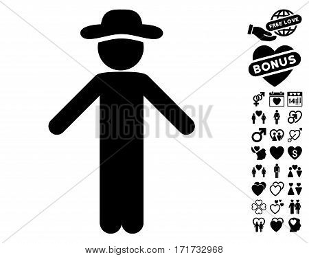 Gentleman Apology pictograph with bonus decoration design elements. Vector illustration style is flat iconic black symbols on white background.