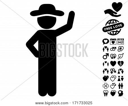 Gentleman Assurance pictograph with bonus passion pictograph collection. Vector illustration style is flat iconic black symbols on white background.