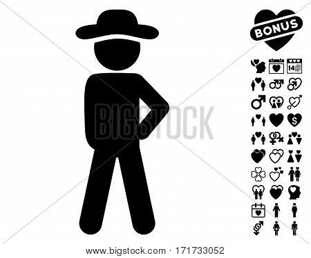 Gentleman Audacity pictograph with bonus love icon set. Vector illustration style is flat iconic black symbols on white background.