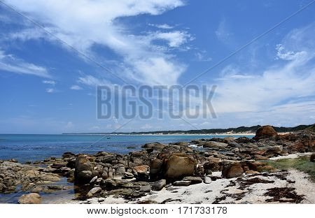 View of coastline of Cape Conran Coastal Park in summer Marlo in Victoria Australia. Cape Conran Coastal Park is a coastal reserve located near Marlo in East Gippsland in Victoria Australia.