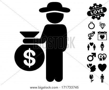 Gentleman Investor icon with bonus decoration images. Vector illustration style is flat iconic black symbols on white background.
