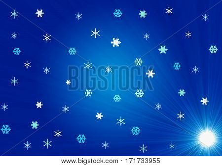The snow with lighting under winter as background