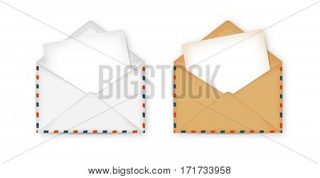 Open envelope with paper for notes inside. White and brown notepaper. Vector illustration.