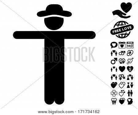 Gentleman Scarescrow icon with bonus decoration design elements. Vector illustration style is flat iconic black symbols on white background.