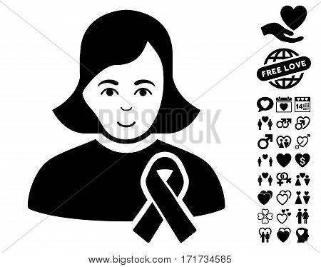 Girl With Sympathy Ribbon icon with bonus dating clip art. Vector illustration style is flat iconic black symbols on white background.