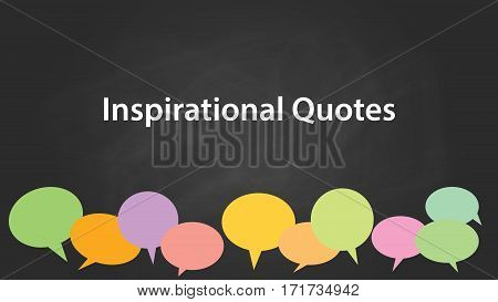 inspirational quotes white text illustration with black background and colourful bubble text callouts icon vector