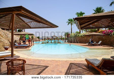 Egypt, Sharm El Sheikh - 08 June / 2015: Visitors At Rest In The Pool At The Hotel.