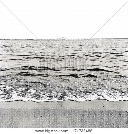 Digital illustration - The wave from the ocean and distant island. Tropical island view from the beach. Exotic island in sea. Beach landscape with the ocean and horizon line. Black and white image