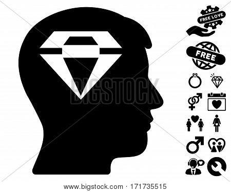 Human Head With Diamond icon with bonus valentine images. Vector illustration style is flat iconic black symbols on white background.