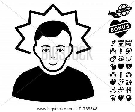 Inventor icon with bonus marriage symbols. Vector illustration style is flat iconic black symbols on white background.