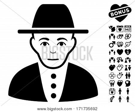 Jew pictograph with bonus valentine pictograph collection. Vector illustration style is flat iconic black symbols on white background.
