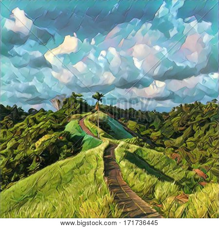 Road in hills under blue sky - digital illustration. Summer postcard or banner template. Square image of beautiful tropical nature and travel. Romantic path in green rice fields. Romantic landscape