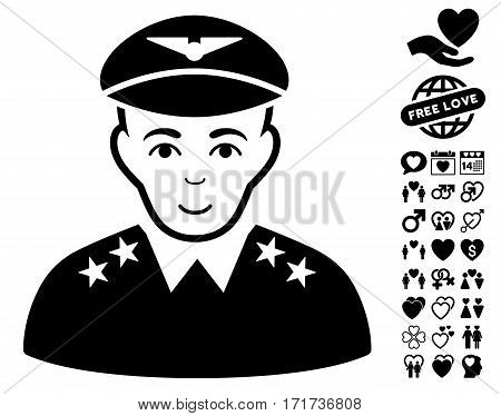 Military Pilot Officer pictograph with bonus amour icon set. Vector illustration style is flat iconic black symbols on white background.
