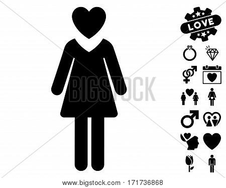 Mistress icon with bonus dating pictograph collection. Vector illustration style is flat iconic black symbols on white background.