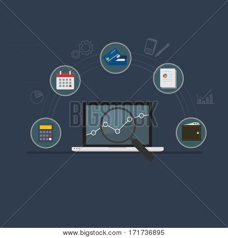 Financial Analysis Illustration. Laptop with Chart and Magnifying Glass and Financial Symbol