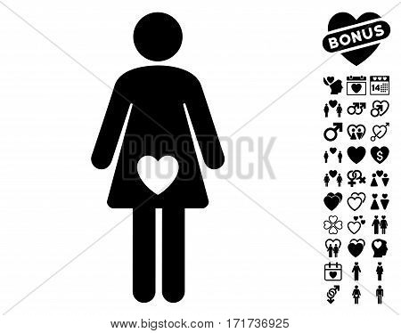 Mistress pictograph with bonus amour pictures. Vector illustration style is flat iconic black symbols on white background.