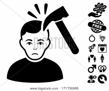 Murder With Hammer icon with bonus marriage images. Vector illustration style is flat iconic black symbols on white background.