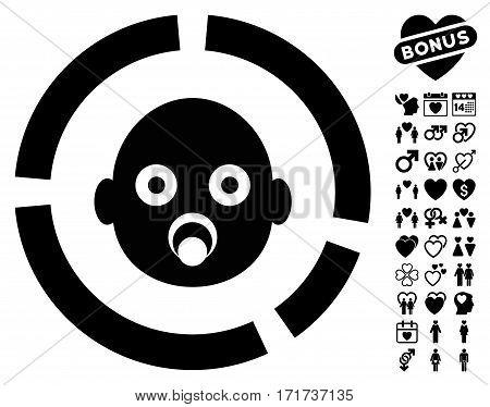 Newborn Diagram icon with bonus love design elements. Vector illustration style is flat iconic black symbols on white background.