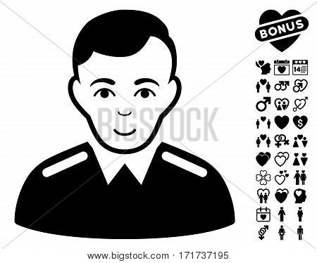 Officer icon with bonus marriage images. Vector illustration style is flat iconic black symbols on white background.
