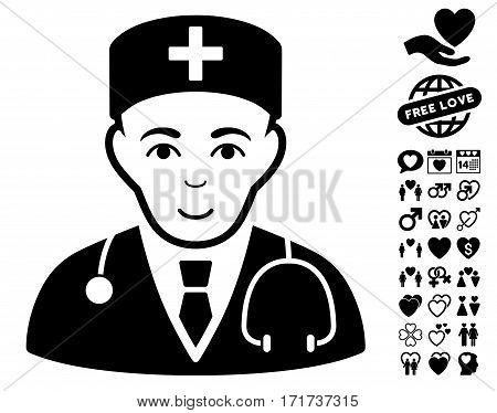 Physician icon with bonus dating pictograms. Vector illustration style is flat iconic black symbols on white background.