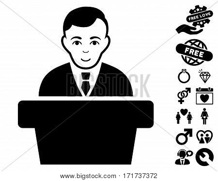 Politician pictograph with bonus dating pictures. Vector illustration style is flat iconic black symbols on white background.