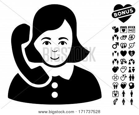 Receptionist pictograph with bonus amour clip art. Vector illustration style is flat iconic black symbols on white background.